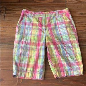 Kim Rogers plaid Bermuda shorts 10P